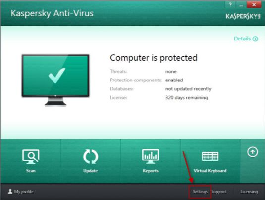 Change Antivirus Settings