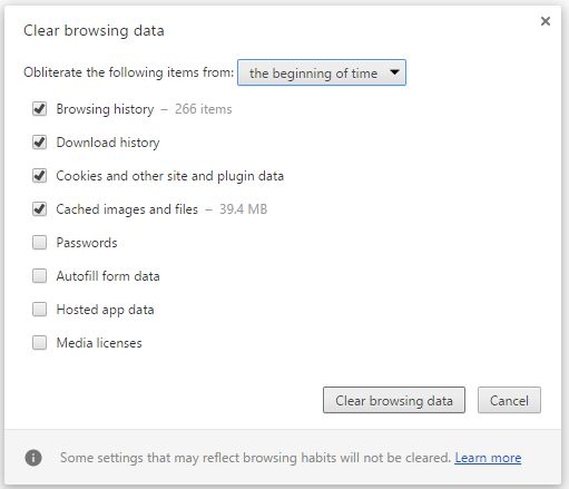 Clearing Browsing Data