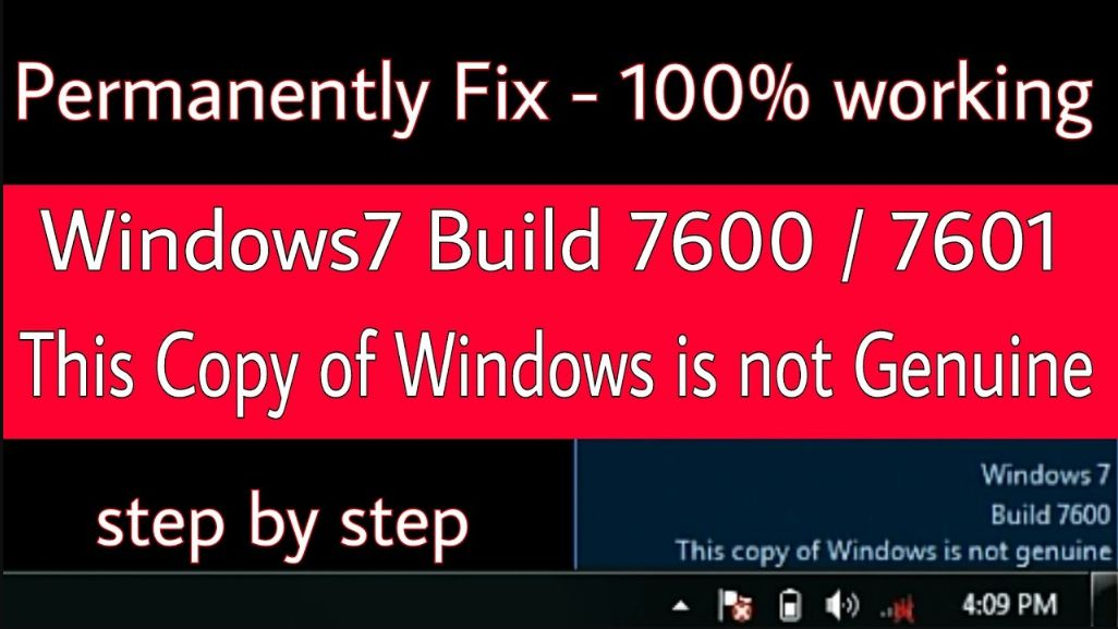 how to Fix this copy of windows is not genuine in windows 7 build 7600