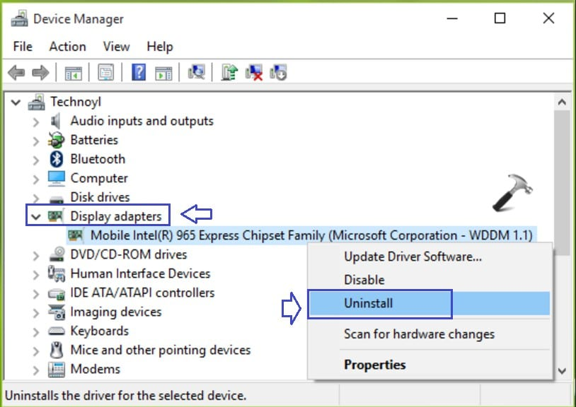 display adapter uninstall